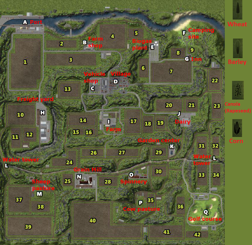 Farming Simulator 2013 Map with Crops